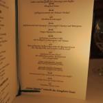 Speisekarte Gorumet-Abendessen