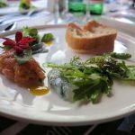 Tartar vom Saibling sowie Sashimi von der bayerischen Garnele