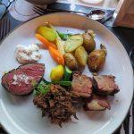Angus-Filet, geschmorte Rippe und pulled Beef