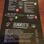 Speisekarte im Pizzesco