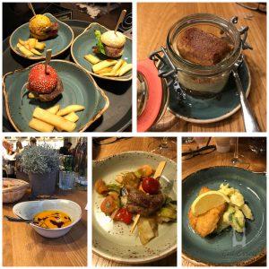 Flying-Buffet mit Mini-Burger, Mini-Schnitzel, Suppe und Tiramisu