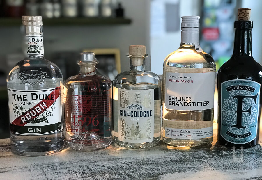 In der Verkostung: The Duke Rough, Ettaler Gin 1596, Gin de Cologne, Berliner Brandstifter, Ferdinand's