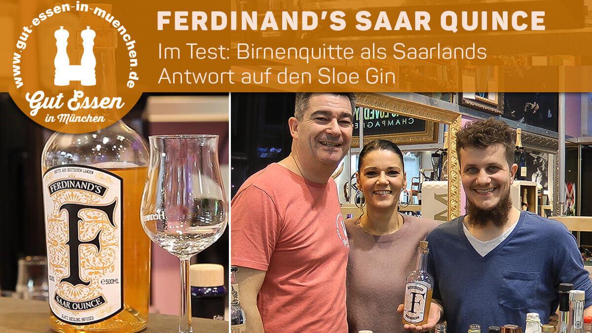 Ferdinand's Saar Quince – Saarländischer Sloe Gin mit Birnenquitte und Riesling-Infusion